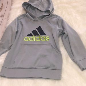 Adidas boys size 7 hoodie grey green small